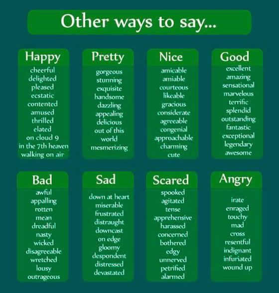 other ways to say happy pretty nice good bad sad scared angry