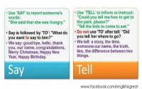 differences between say and tell