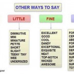 other ways to say big, little,fine, sure
