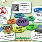 phrasal verbs, turn of, switch off, take off, show off