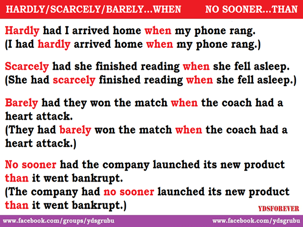 uses of HARDLY WHEN - SCARCELY WHEN - BARELY WHEN - NO SOONER THAN