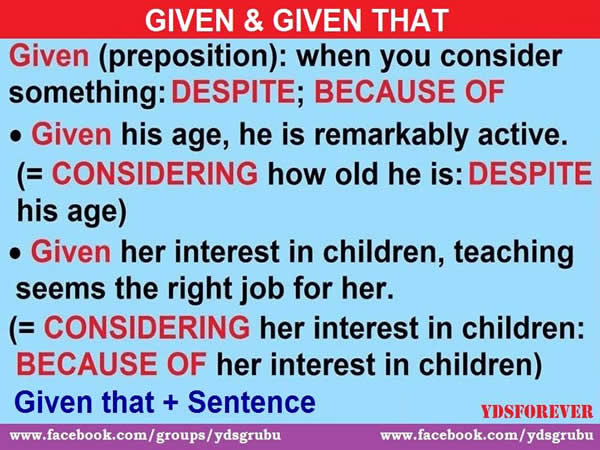 uses of given and given that