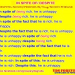 uses of in spite of, despite