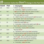 10 common verbs that dont change in the past tense
