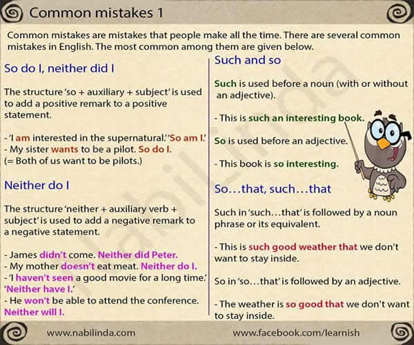 some common mistakes in english