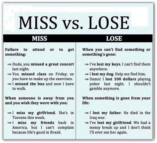 differences between miss and lose (with examples)