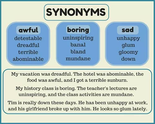 Printables Example Of Synonyms synonyms awful boring sad and example sentences sad