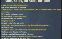 uses of sale, sales, on sale, for sale