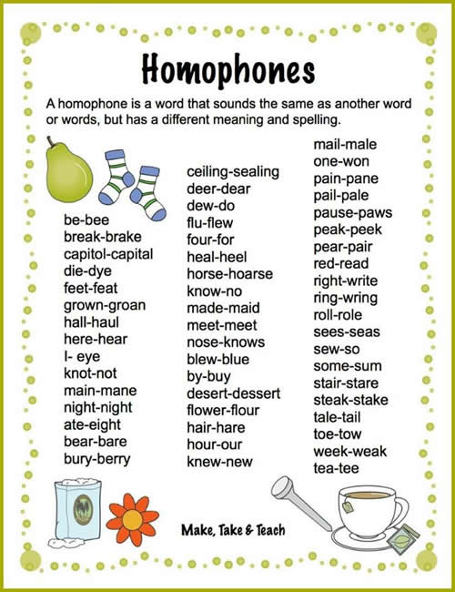 Exceptional Some Homophone Word List Pertaining To Another Word For To Do List