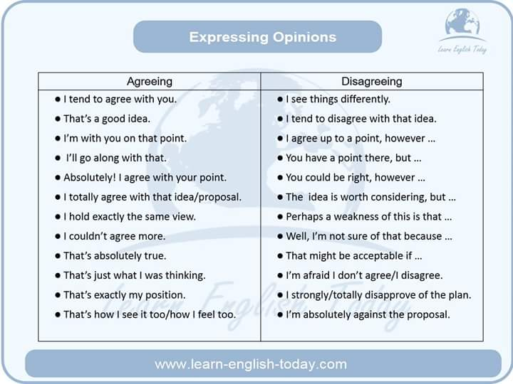 expressing opinions agreeing and disagreeing