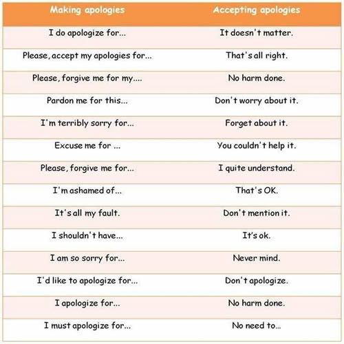 how to say apologize in english