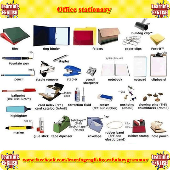 Office stationary - vocabulary study