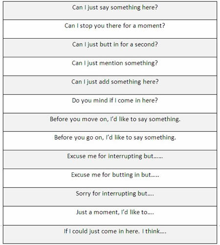 different ways to interrupt someone