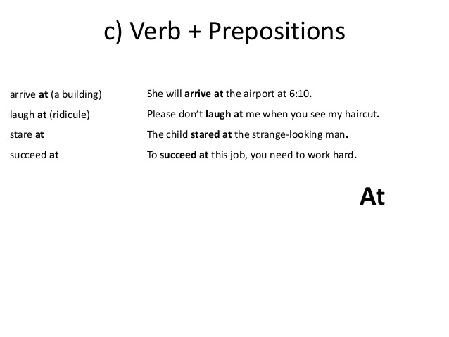 Common Collocations - Verb + Preposition - at