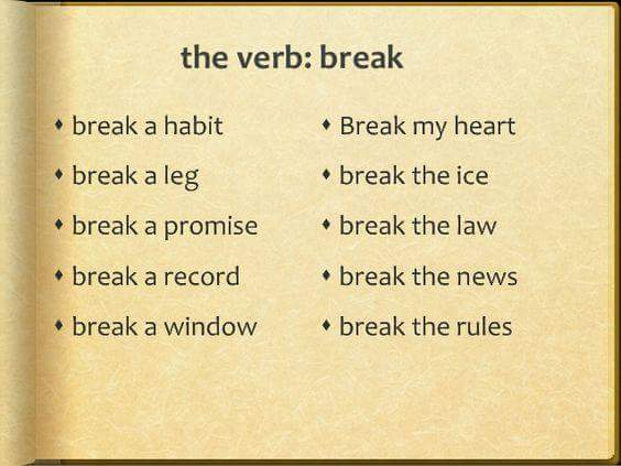 Collocations with BREAK