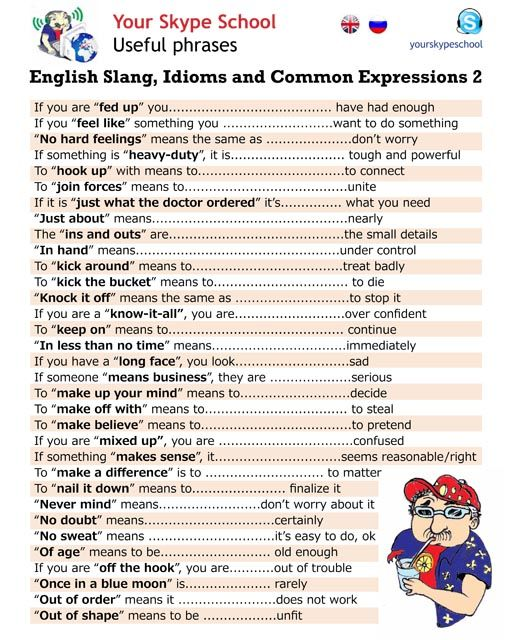 English Slang Idioms and Expressions