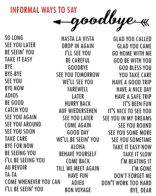 Informal Ways To Say GOODBYE
