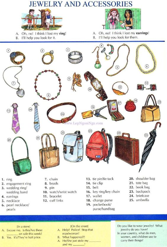 Jewelry and Accessories - English Vocabulary