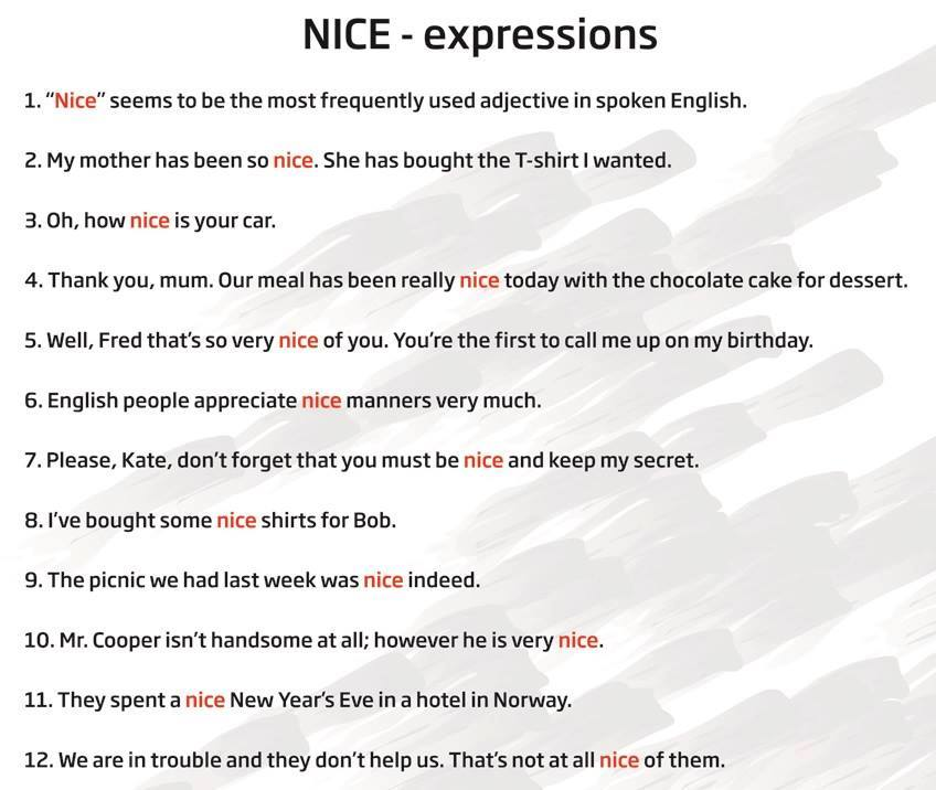 Using NICE in English