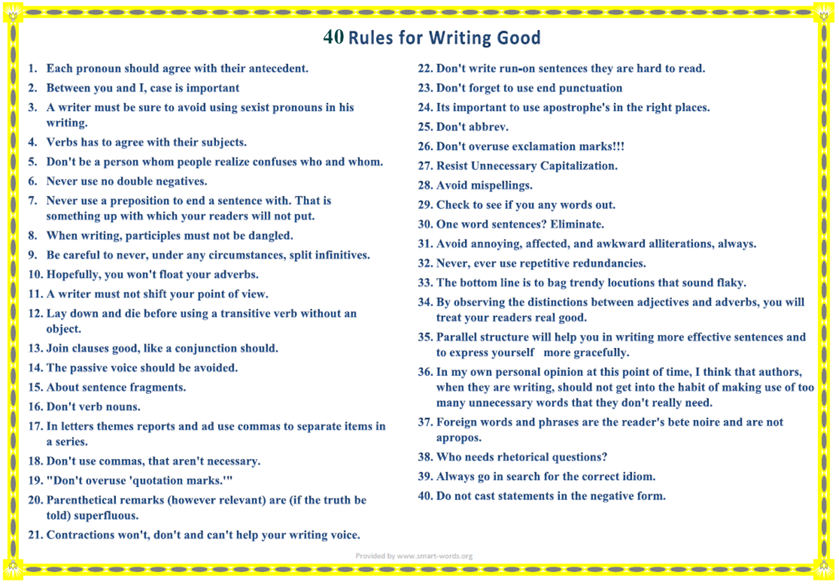 Rules For Writing Good
