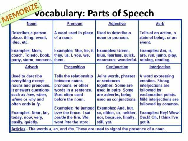 Vocabulary Parts Of Speech