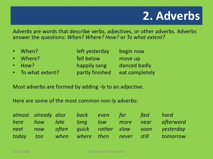 Adverbs Detailed Expressions And Examples